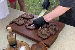 Slicing the meat after cooking