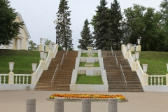 Stairs to church, park and mainstreet