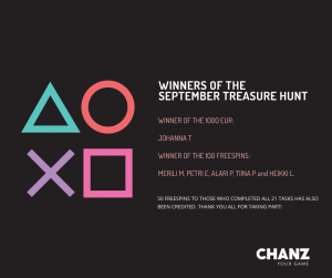 September Treasure Hunt Casino Winners